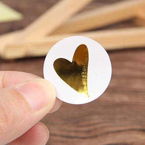 BLOUR Etiqueta Adhesiva Redonda de corazón Dorado, Bonita Etiqueta Adhesiva de Sellado para Tarjetas de cumpleaños, Sobres, Regalos, decoración, papelería, 160 unids/Lote