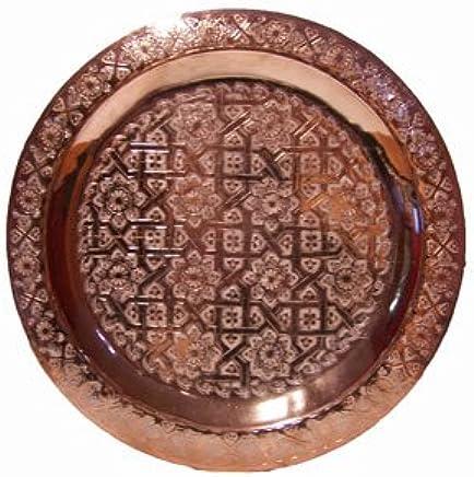 Preisvergleich für Orientalisches rundes Tablett aus Messing Mehdia 40cm Deko Kupfer | Marokkanisches Teetablett in der Farbe Kupfer | Orient Kupfertablett kupferfarbig | Orientalische Dekoration auf dem gedeckten Tisch