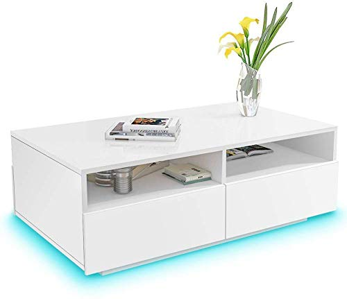 Coffee Table Modern LED Light Wood High Gloss Coffee Tables Sturdy Large End Side Sofa Table Flat MDF Rectangle Table with 2 Open Shelves and 4 Drawers for Living Room Home Office White 85 x 35 x 56cm