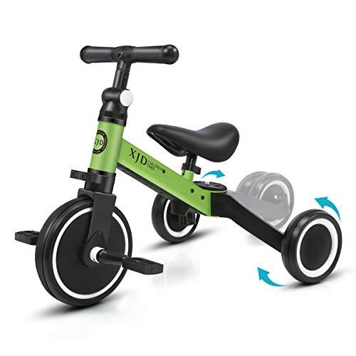 XJD 3 in 1 Kinder Dreirad Laufrad Lauffahrrad Kinderdreirad für 1-3 Jahr Laufräder Jungen Mädchen Baby Balance Bike (Grün)