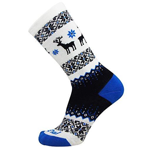 Kids Merino Wool Ski Socks – Snow Sock for Boys, Girls, Children – Snowboard (1 Pair - Charcoal Black/Cobalt Blue/White, S/M)