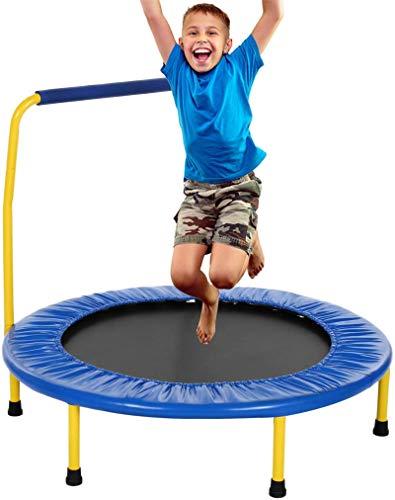 Fitness-Trampolin leise Gummiseil Federung Haltegriff Randabdeckung, Garten Trampolin für Jumping (Blue, Ø 92cm)