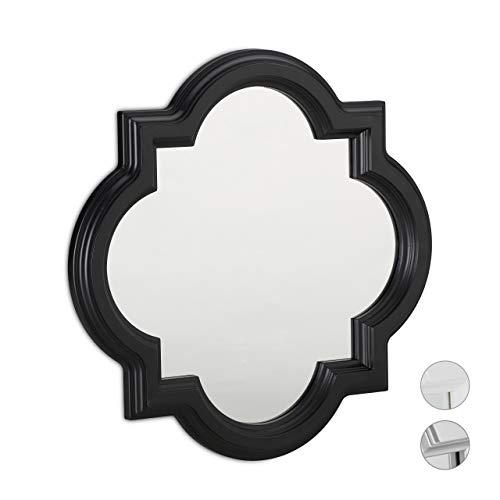 Relaxdays Espejo vintage para la pared, Colgante, Decorativo, Marco de plástico, 39,5 x 39,5 cm, Negro, PP, vidrio, cartón, 39,5 x 39,5 x 2,5 cm