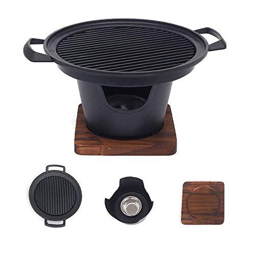 Mini parrilla de hibachi, estufa portátil de hierro fundido con base de madera y soporte de combustible, sartenes para barbacoa de cocina de interior