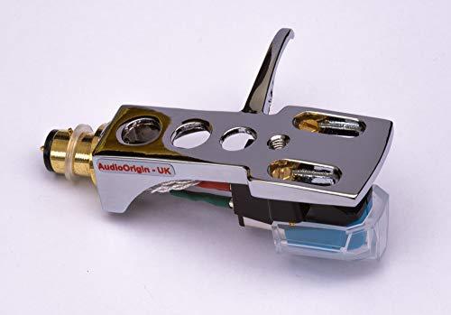 Spegel krompläterat huvudskal, fäste, patron och stylus, nål för Pioneer PL100, PL112D, PL115D, PL117D, PL120, PL300, PL400, PL510, PL514, PL514X, PL550, PL570, PL1170, - Tillverkad i aluminium