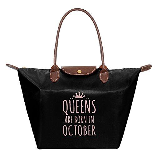 Queens Are Born In October Womens Stylish Waterproof Tote Shoulder Bag Dumpling Handbag