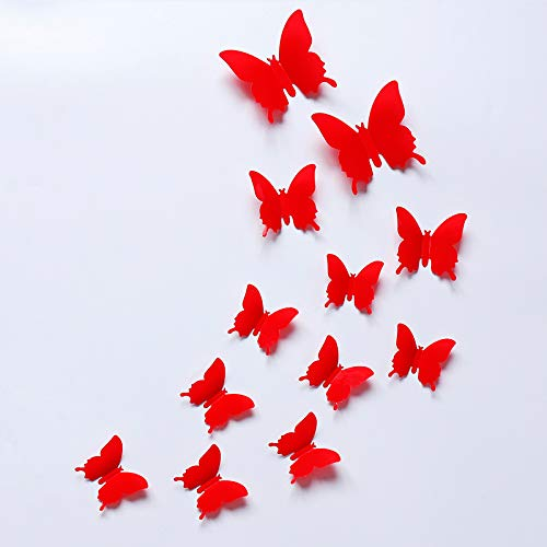 Shanji 12pcs 3D Butterfly Removable Mural Wall Stickers PVC 3D Simulation Butterfly Mirror Sticker