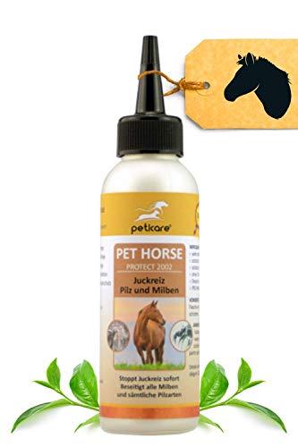 Peticare Spezial-Pflege bei Juckreiz, Milben bei Pferden - Stoppt effektiv Jucken durch Pilzbefall und Milbenbefall, rein pflanzliche Inhaltsstoffe - petHorse Protect 2002