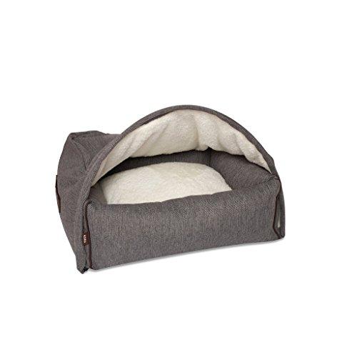 KONA CAVE® Designer Hundehöhle mit Abnehmbarer Abdeckung - Größe Klein - Schwarz/Grau