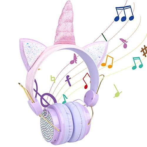 Tixiyu Unicorn - Auriculares para niños y niñas, con cable montados en la cabeza, cómodos y ajustables con micrófono de dibujos animados, adecuados para tableta, TV, PC, auriculares de teléfono