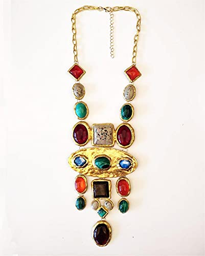 Collar Mujer Oro Chian Multi Colgantes Maxi Collar Largo Joyería Collar de Vintage Femenino (Metal Color : Champagne Gold)
