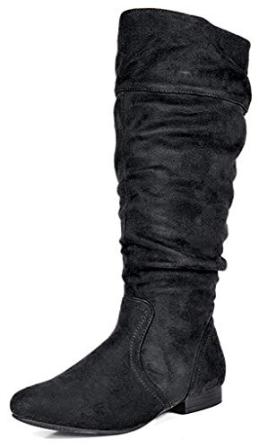 DREAM PAIRS BLVD Women's Fashion Casual Knee High Wide Calf Pull On Slouchy High Fall-Weather Boots BLACK SUEDE SIZE 9.5