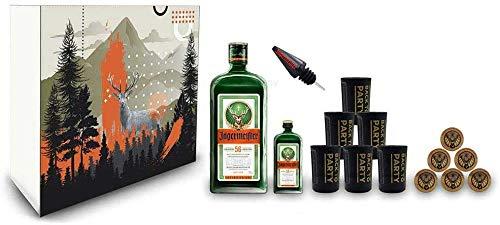 Jägermeister Giftbox Geschenkset - 15 teilig mit Jägermeister 1L (35% Vol) Kräuterlikör Bar Drink - [Enthält Sulfite]