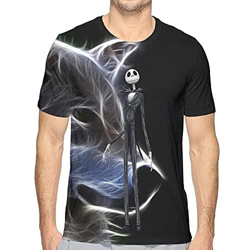 Camiseta clásica de los hombres Jack Skellington La pesadilla antes de la Navidad 3D impresa camiseta elegante de manga corta camisetas de los hombres de cuello redondo Tee