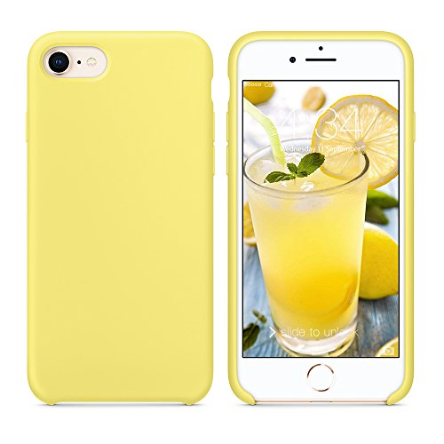 SURPHY Silicone Case Compatible for iPhone 8 iPhone 7 Case, Soft Liquid Silicone Slim Rubber Protective Phone Case Cover (with Microfiber Lining) for iPhone 7 iPhone 8 4.7', Yellow