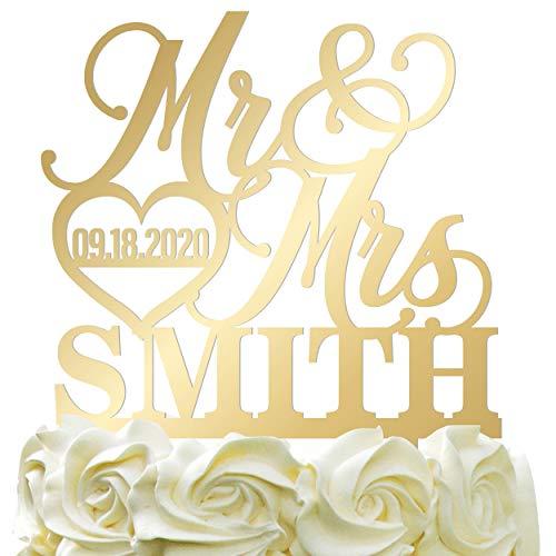 Personalized Wedding Cake Topper - Wedding Cake Decoration, Elegant Customized Mr Mrs Wedding Cake Topper, Last Name & Date w/Heart - Mirrored Acrylic