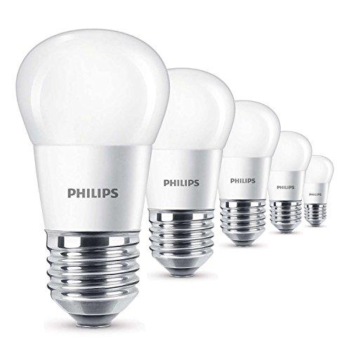Philips E27 LED 4 Watt ersetzt 25 Watt 2700K Warmweiß 250lm Höhe 87mm Ø 45mm matt, 8718696474969 (5er-Pack)