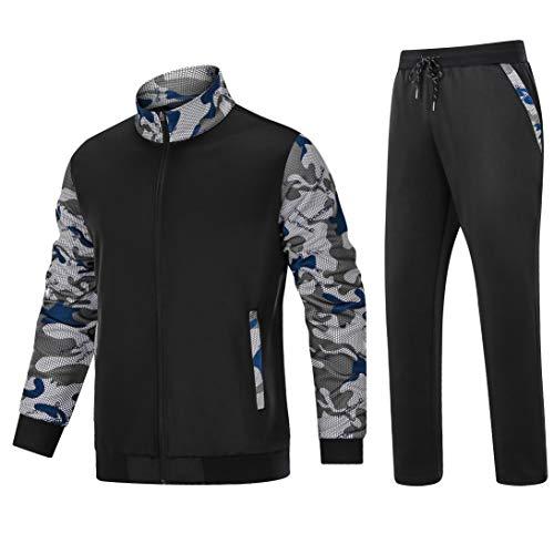 MAGCOMSEN Herren Jogginganzug Trainingsanzug Fitness Streetwear Tracksuit Männer Sportanzug Casual Freizeit Sets Sportkleidung mit Taschen Schwarz 2XL