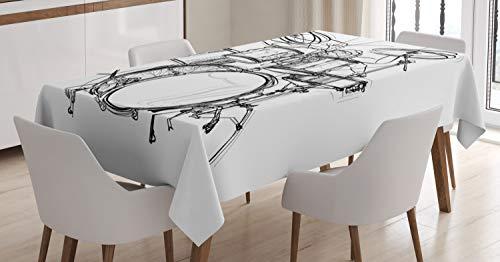 ABAKUHAUS La música Rock Mantele, Arte del Doodle del batería, Estampa Personalizada Vívida No Destiñe Apto Uso Exterior, 140 x 240 cm, Blanco Negro