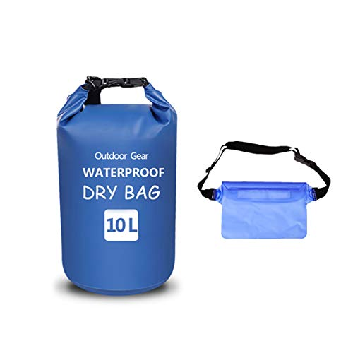 Muzmate Floating Waterproof Dry Bag 10L,Roll Top Sack Keeps Gear Dry with Detachable Shoulder Strap, Waist Pouch for Kayaking,Rafting,Boating,Swimming,Camping,Hiking,Beach,Fishing