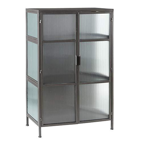 Vitrina de Metal y Cristal Vintage Negra con 2 Puertas de 120x42x80 cm - LOLAhome