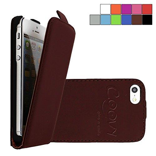 COOVY Custodia per Apple iPhone 5c Slim Flip Cover Case della Copertura di Vibrazione Protezione, Pellicola Protettiva per Schermo | Colore Marrone