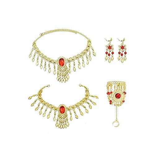 XiaoG Joyas Indias Conjuntos Bohemio Red Crystal Leaf Collar Colgante Pulsera Pendiente Pendiente Detalles Conjuntos (Color : Sets)