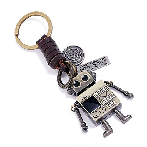key chain,keyring rings,decoration,car pendant,wallet chain,Creativity Alloy Robot Key Chains for Women Vintage Weave Leather Keychain Luxury Car Bag Accessories Friends Boyfriend Gift