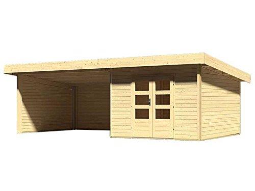 Karibu Woodfeeling Gartenhaus Northeim 3 naturbelassen mit Schleppdach 4,0 Meter, Seiten- und Rückwand
