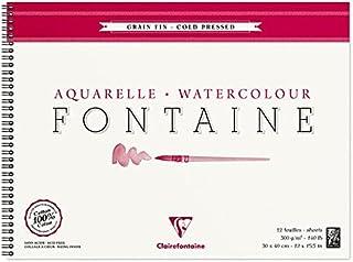 Clairefontaine 96315C Album Spiralé Fontaine - 12 Feuilles Papier Aquarelle Blanc 100% Coton Grain Fin Qualité Professionn...