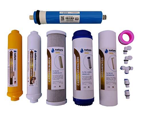 Nature Waterprofessionals Pack 5 Filtros Osmosis Inversa y Membrana Vontron