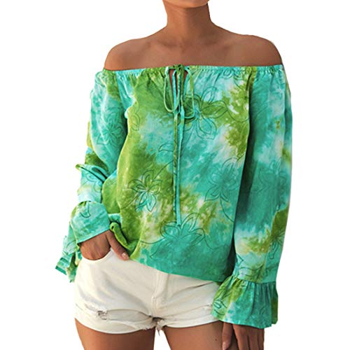 Langarmshirt Damen Elegante Schulterfreie Oberteil Tunika Laterne Ärmel Solide Sexy Bluse Freizeit Party Strand Lose Tops Shirt Bluse Atmungsaktiv Attraktiver T Shirt Einzigartige Hemd B-Green M