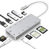 USB C Hub 11 in 1 Dex Station mit HDMI 4K,USB 3.0, Aufladung,Unterstützt SD/SDHC/SDXC/Micro...