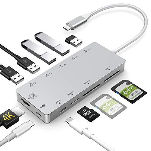 Rozeda USB C Hub 11 in 1 Dex Station mit HDMI 4K,USB 3.0, Aufladung,Unterstützt SD/SDHC/SDXC/Micro sd/Kartenleser OTG Type C Dock Kompatibel with MacBook Pro 2017/2018,Samsung S8/S9