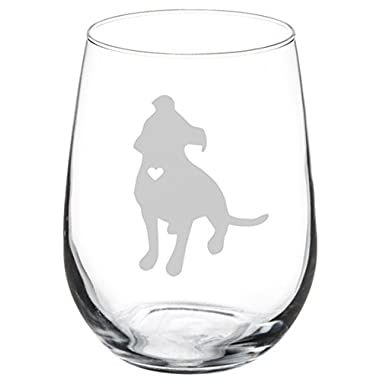 Wine Glass Goblet Cute Pitbull with Heart (17 oz Stemless)