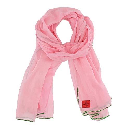 Erfurt Schal Tuch Chrochet rosa mit kontrastfarbiger Häkelborte