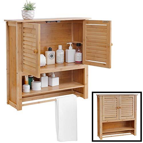 Decopatent Badezimmerschrank hängend - Bambus Holz - Hängender Schrank für Badezimmer - Wandschrank mit Handtuchhalter