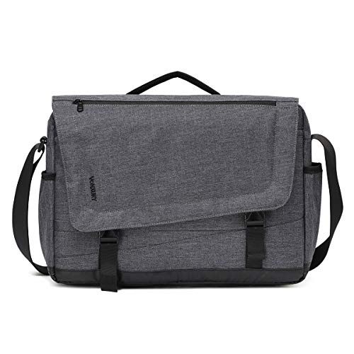 Messenger Bag for Men, Lightweight Water Resistant 15.6 Laptop Shoulder Crossbody Bag by Vonxury Grey