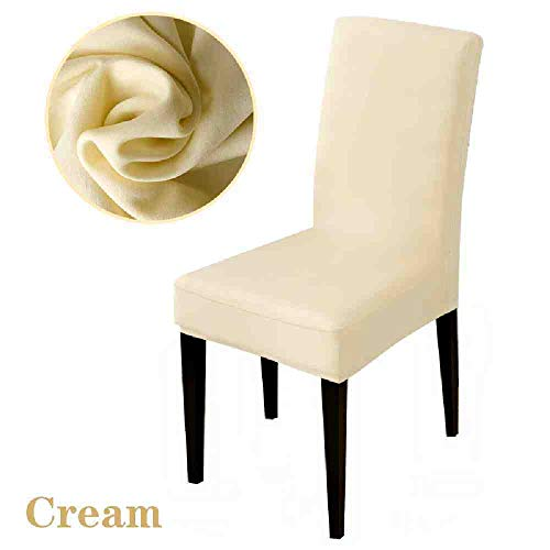 BJDKF Stoelbekleding, pure kleur, stretch, stoelbekleding, stoelovertrekken, beschermhoezen, hotel banket, housse de chaise fauteuil, elastische kerstmis, bureaustoel crème