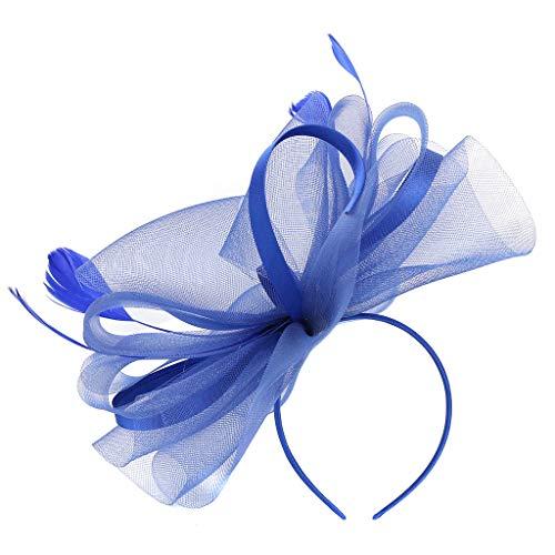 DAIFINEY Haarschmuck Kopfschmuck Elegant Mesh Schleier Zylinder Mode Haarbänder Haarspangen haarreif Kopfbedeckungen Festliche Party Cosplay Braut Hochzeit Haarschmuck Blau/Blue