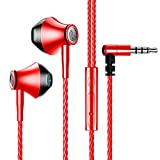 Wired Earbuds with Microphone Extra Bass Dynamic Drivers in-Ear Headphones with Mic, Hi-Res Headphones Noise Isolating, Lightweight Earphones with Volume Control 3.5 MM (2107EPO-Red)