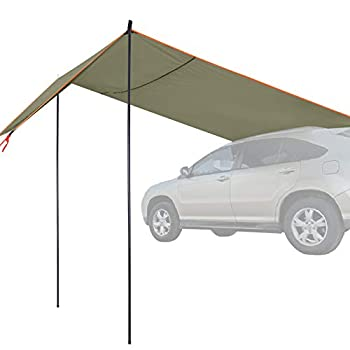 REDCAMP Waterproof Car Side Awning Sun Shelter Portable Auto Canopy Camper Sun Shade with Adjustable Tarp Poles and Suction Cup for Camping Picnic Travel