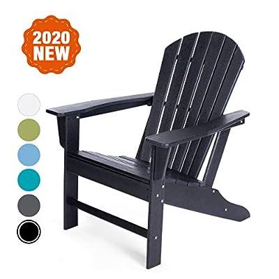 DAILYLIFE HDPE Plastic/Resin Classic Outdoor Adirondack Chair for Patio Deck Garden,Backyard & Lawn Furniture,Black (Black)