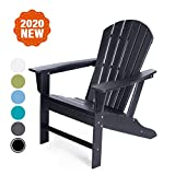 LAYRIAR HDPE Plastic/Resin Outdoor Adirondack Chair for Patio Deck Garden, Backyard & Lawn Furniture (Black)
