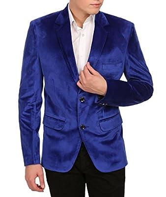 WINTAGE Men's Velvet Two Buttoned Notch Lapel Party Blue Coat Blazer from