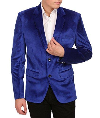 Wintage Men's Velvet Two Buttoned Notch Lapel Party Blue Coat Blazer,Medium / 40