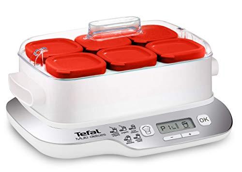 Tefal Multidelices Express YG6601 - Yogurtera Eléctrica con 5 Programas y Función Exprés de 4 Horas, Incluye 6 Vasos Yogurtera con Tapa, Bandeja y Libro de Recetas, para Hacer Yogures Artesanos