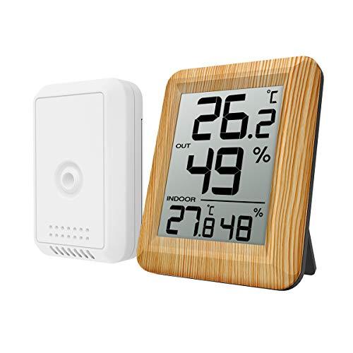 ORIA デジタル温湿度計 外気温度計 ワイヤレス 室内 室外 高精度 LCD大画面 置き掛け両用 華氏/摂氏表示 温室 ペット 温度管理 健康管理 インフルエンザ予防 見やすい おしゃれ 黄色