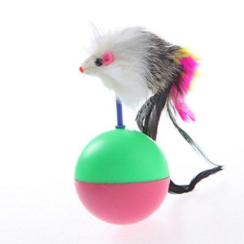 Bobury Murmurous Suoni mouse a forma di piuma di coda Bicchiere Giocattoli per gatti colore casuale