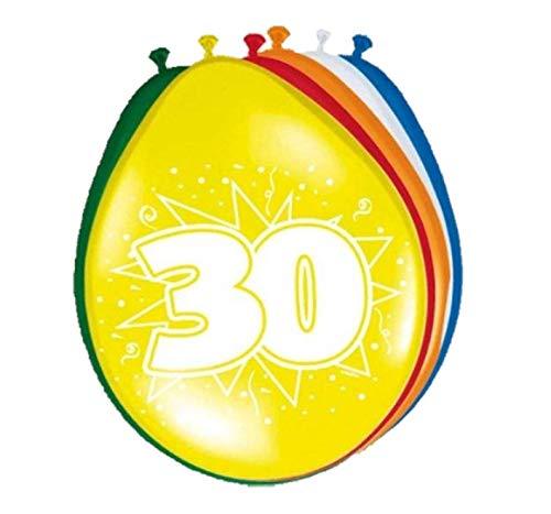Folat 08230 30 Verjaardag ballonnen 30 cm-8 stuks, meerkleurig
